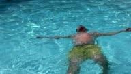 Men relaxing in the pool video