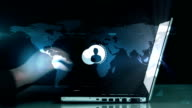 Men silhouettes popping up from laptop video