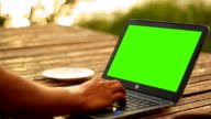 Men Using notebook green screen outdoor video