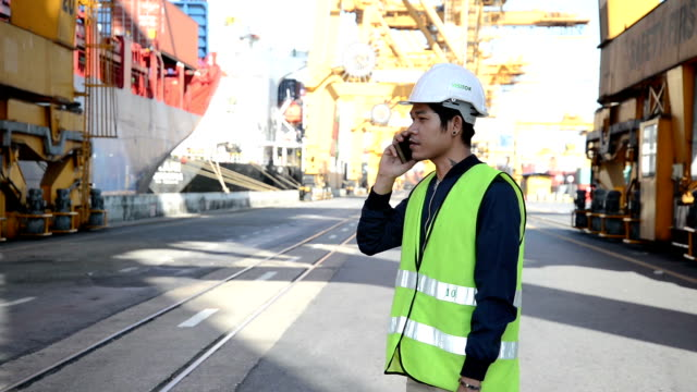 Men worker and cargo containers in shipping video