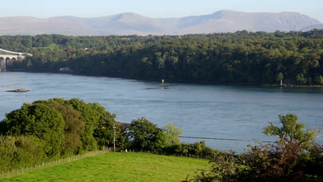 Menai Suspension bridge in North Wales video