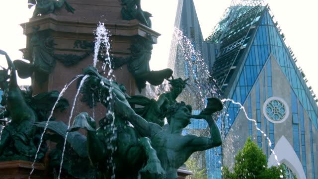Mendebrunnen. Fountain in Leipzig,Germany video