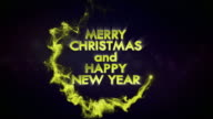 Merry Christmas and Happy New Year, Gold Text in Particles, 4k video