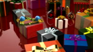 Merry Christmas Animation with Gifts, Bells and Baubles video