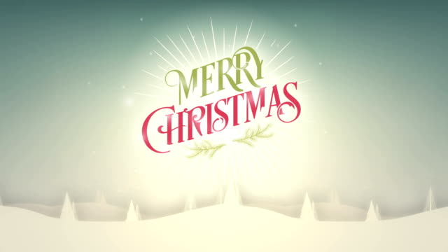 Merry Christmas background with snow and trees video