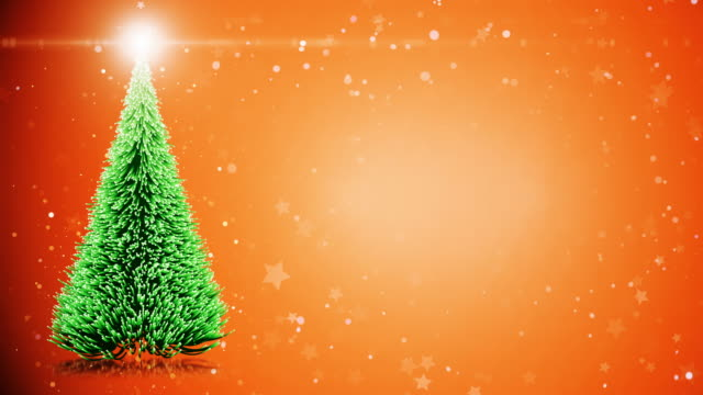 Merry Christmas card: Christmas tree with light snowflakes video