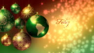 Merry Christmas in five languages with Earth as Xmas bauble video