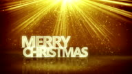 merry christmas sign and gold rays loopable animation video
