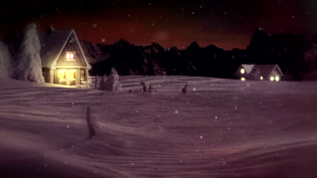 HD: Merry Christmas Text Over Winter Wonderland video