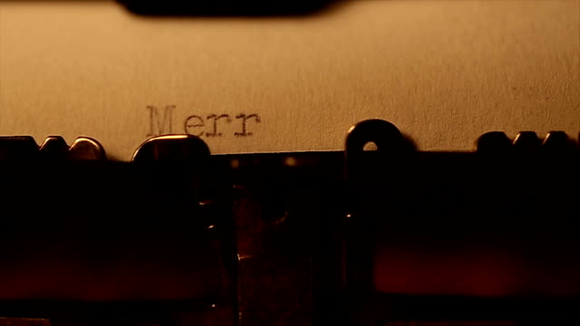 'Merry christmas' typed using an old typewriter video