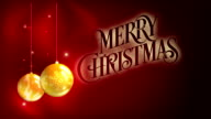 Merry Christmas - yellow balls with abstract red background video