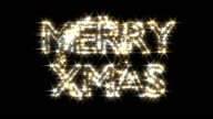 Merry Xmas text in gold and silver sparkles particles fairy dust wand video