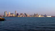 Mersey Ferry crosses in front of Liverpool skyline video