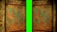 metal door opening to green screen video