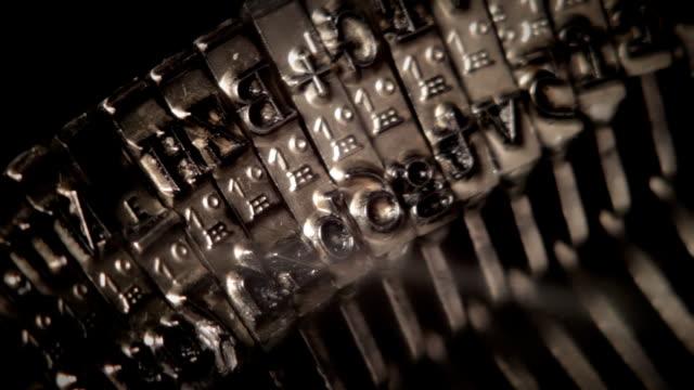 Metal types in the typewriter. video