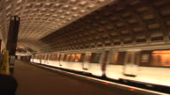 DC Metro Rail Station Wide-Shot Train Arrives video