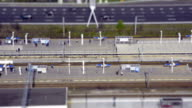 Metro station aerial view time lapse tilt shift video