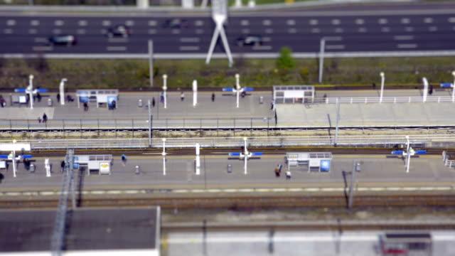Metro station aerial view time lapse tilt shift video