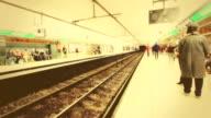Metro station timelapse scene in Barcelona, Spain video