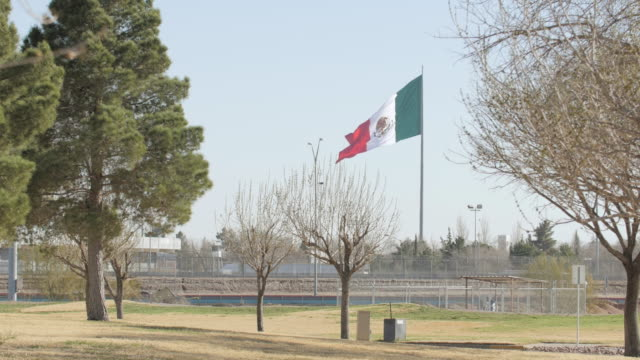 Mexican Flag Blowing in the Wind Near the Border 2 video
