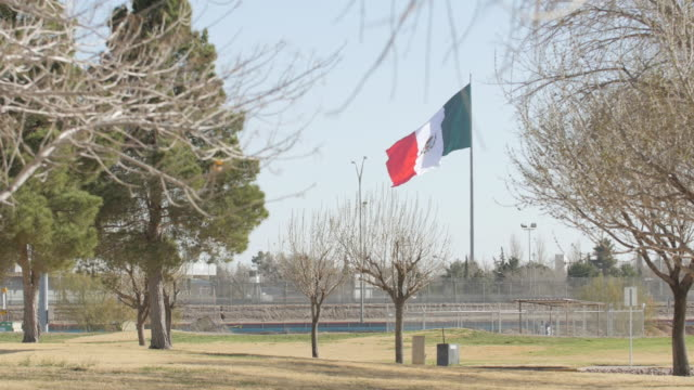 Mexican Flag Blowing in the Wind Near the Border video