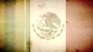 Mexican Flag - Grungy Retro Old Film Loop with Audio video