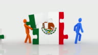 Mexican flag puzzle. White background. video