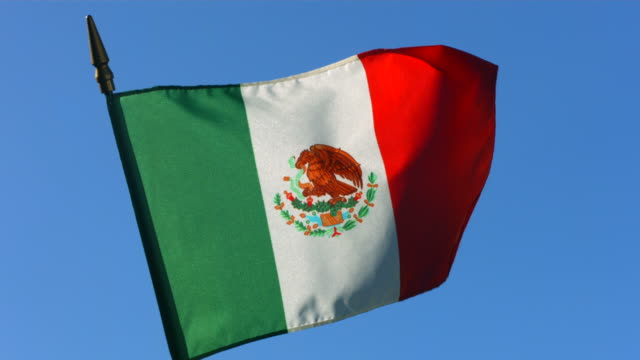 Mexican flag waving in wind against clear blue sky video