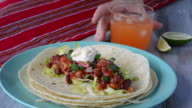 Mexican food Tortilla served with Margarita video