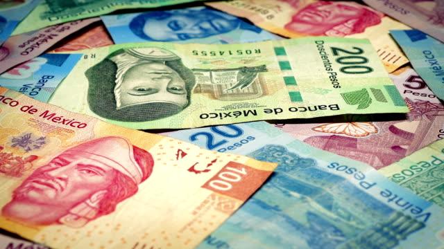 Mexican Peso Banknotes Rotating Closeup video