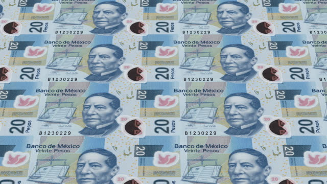 mexican pesos bills printing - animation video
