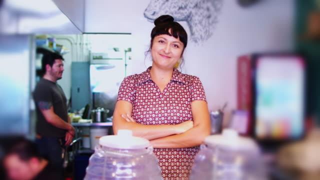 Mexican Restaurant Proprietor Posing in Kitchen video