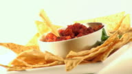 Mexican Salsa And Chips Sideways Zoom Out  - HD video