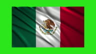 Mexico flag waving,loopable on green screen video