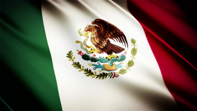 Mexico realistic national flag seamless looped waving animation video