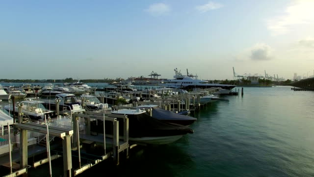 Miami Beach Marina aerial video video