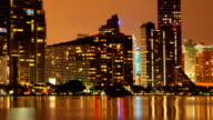 Miami skyline at dusk video