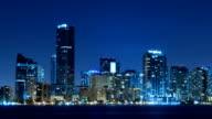 Miami skyline time lapse at night video