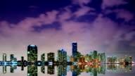 HD Miami skyline vivid time lapse video