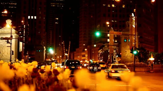 Michigan Avenue Bridge by night , Chicago Downtown ( HD 1080p) video