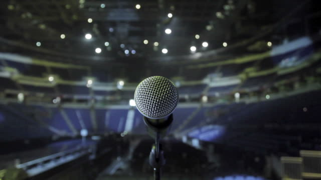 Microphone on stage at concert venue video