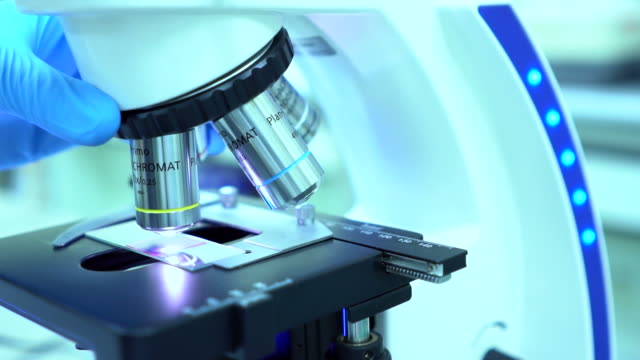 Microscope at laboratory. Close-up and slow motion shot video