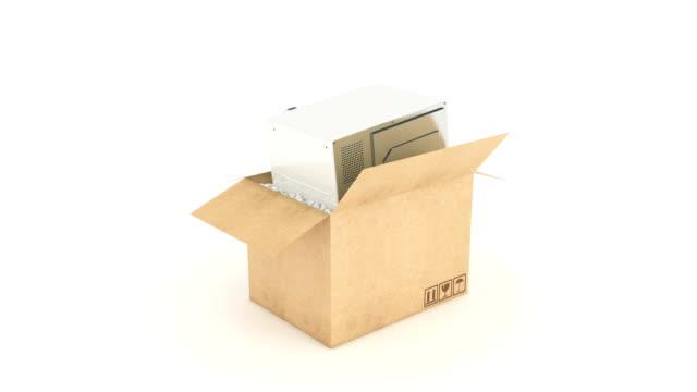 microwave in cardboard box. 3D rendering video