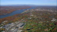 Mid Hudson Bridge - Aerial View - New York,  Ulster County,  United States video
