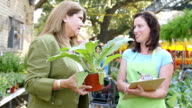 A mid-adult Caucasian woman takes plant order from Mature Hispanic woman video