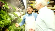 Mid-adult Hispanic supermarket employee explains different types of lettuce to senior Caucasian male video