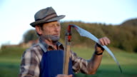 Middle age farmer clinging the scythes blade with grass video