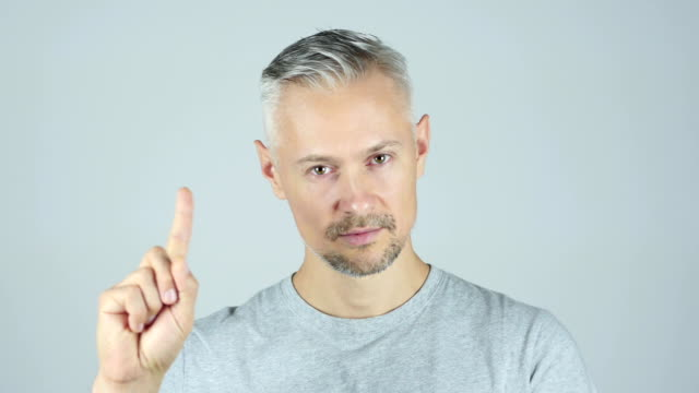 Middle Age Man Showing No by Waving fingers , Portrait video