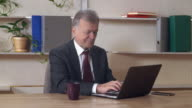 Middle aged entrepreneur using pc at work video
