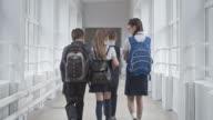Middle School Children Chatting in Hallway video